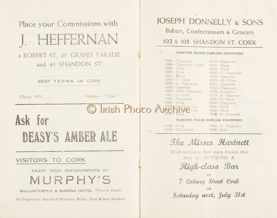 Munster Minor and Senior Hurling Championship Final, held at Croke Park, Dublin, Ireland.<br />