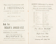 Munster Minor and Senior Hurling Championship Final, held at Croke Park, Dublin, Ireland.<br /> .25.07.1937, 07.25.1937, 25th July 1937,.25071937MSMHCF,..J Jeffernan 4 Robert St 69 Grand Parade and 43 Shandon St, &quot;place your commisions&quot;,..Deasy's amber ale,..Murphy's Ballintemple and Marina Hotel Victoria road,..Joseph Donnelly and sons Bakers Confectioners and Grocers, 102 and 103 Shandon St Cork,..The MIsses Hartnett High Class Bar, 7 Coburg Street Cork,.
