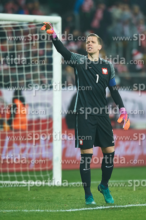 Wroclaw, Poland - 2016 November 14: Goalkeeper Wojciech Szczesny of Poland gestures during Poland v Slovenia - International Friendly Soccer Match at Municipal Stadium on November 14, 2016 in Wroclaw, Poland.<br /> <br /> Adam Nurkiewicz declares that he has no rights to the image of people at the photographs of his authorship.<br /> <br /> Picture also available in RAW (NEF) or TIFF format on special request.<br /> <br /> Any editorial, commercial or promotional use requires written permission from the author of image.<br /> <br /> Mandatory credit:<br /> Photo by © Adam Nurkiewicz / Mediasport