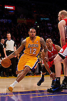 25 February 2011: Guard Shannon Brown of the Los Angeles Lakers drives to thte basket against the Los Angeles Clippers during the second half of the Lakers 108-95 victory over the Clippers at the STAPLES Center in Los Angeles, CA.