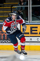 KELOWNA, CANADA - MARCH 28: Lucas Nickles #9 of the Tri-City Americans skates against the Kelowna Rockets during game 5 of the first round of WHL playoffs on March 28, 2014 at Prospera Place in Kelowna, British Columbia, Canada.   (Photo by Marissa Baecker/Shoot the Breeze)  *** Local Caption *** Lucas Nickles;