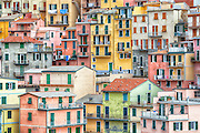 detail view of the houses of Manarola, Cinque Terre, Liguria, Italy