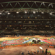 A panoramic image of the closing ceremony at the Sydney Olympic Stadium during the 2000 Sydney Olympic Games...Panoramic images from the Sydney Olympic Games, Sydney, Australia. 2000 . Photo Tim Clayton