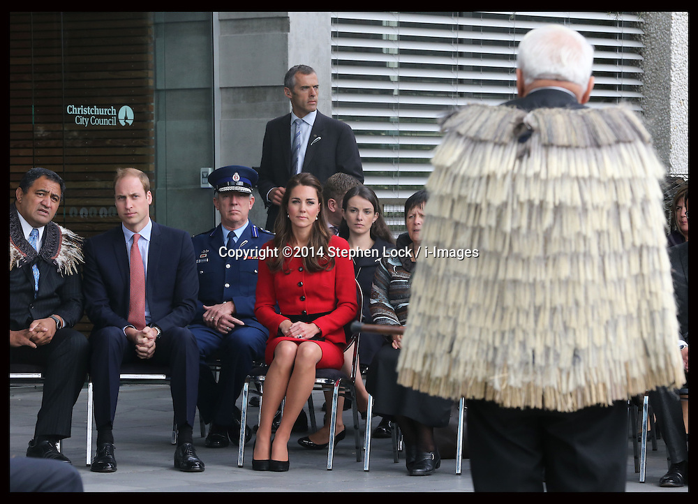 The Duke and Duchess of Cambridge  at a traditional Maori welcome ceremony in Christchurch, New Zealand, Monday, 14th April 2014. Picture by Stephen Lock / i-Images