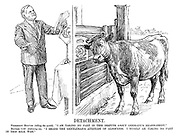 "Detachment. President Hoover (telling the world). ""I am taking no part in this dispute about Germany's rearmament."" British Cow (listening-in). ""I share the gentleman's attitude of aloofness. I myself an taking no part in this milk war."""