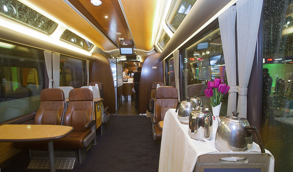 The inside of Kiwirail's new Northern Explorer Train that sits at Britomart station nearing the start of its first run to Wellington in Auckland, New Zealand, Monday, June 25, 2012. Credit:SNPA / Marty Melville