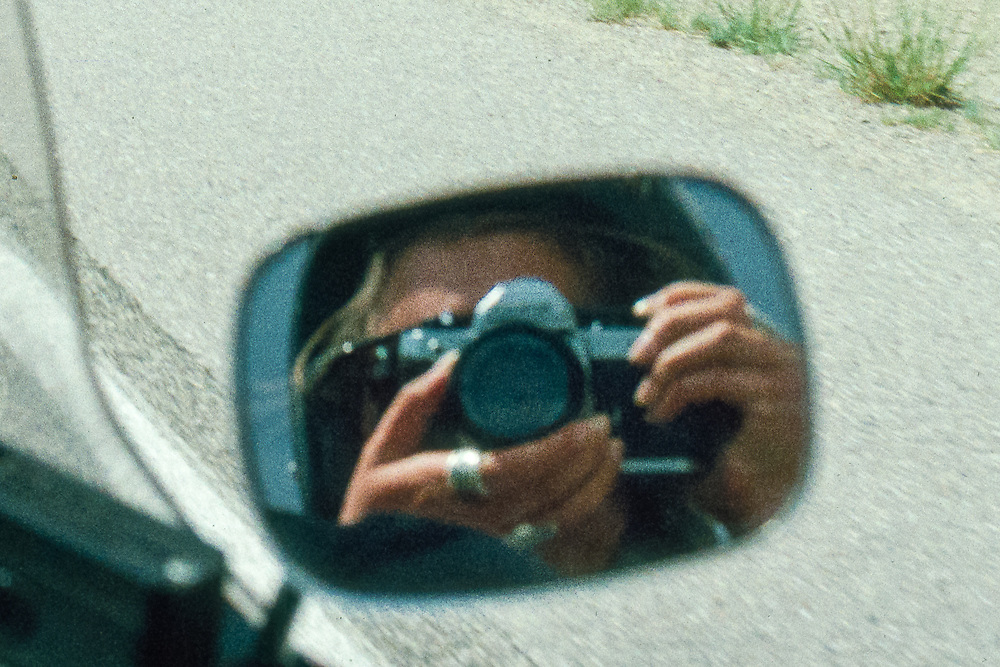 Self-portrait on Robert Coberly's motorcyle going from Los Lunas to Albuquerque.