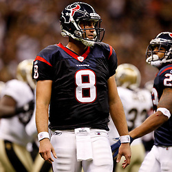 August 21, 2010; New Orleans, LA, USA; Houston Texans quarterback Matt Schaub (8) during the first quarter of a preseason game at the Louisiana Superdome. Mandatory Credit: Derick E. Hingle
