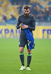 KIEV, UKRAINE - Easter Monday, March 28, 2016: Wales' Joe Ledley looks dejected after the 1-0 defeat to Ukraine during the International Friendly match at the NSK Olimpiyskyi Stadium. (Pic by David Rawcliffe/Propaganda)