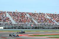 Nico Rosberg (GER) Mercedes AMG F1 W05 leads team mate Lewis Hamilton (GBR) Mercedes AMG F1 W05.<br /> United States Grand Prix, Sunday 2nd November 2014. Circuit of the Americas, Austin, Texas, USA.