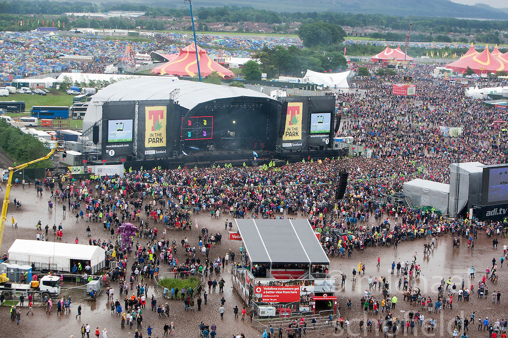 View from the ferris wheel, showing the main stage arena, Sunday at T in the Park 2012, held at Balado, in Fife, Scotland.