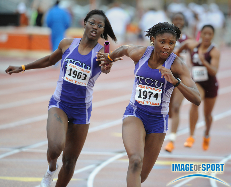 Apr 4, 2008; Austin, TX, USA; Kishelle Paul takes handoff from Brittany Blaylock on the third leg of TCU heat-winning women's 4 x 100m relay that ran 45.35 in the 81st Clyde Littlefield Texas Relays at Mike A. Myers Stadium.