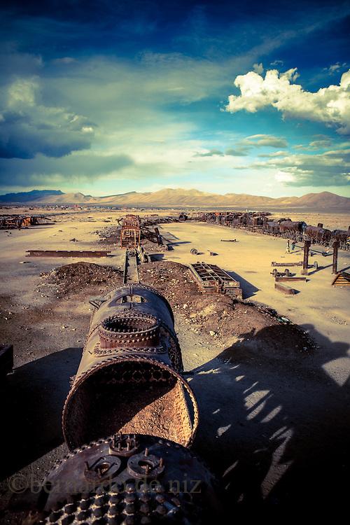 Train cemetery in The world's largest salt flat, Salar de Uyuni in Bolivia. Photographer: Bernardo De Niz