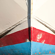 Bow of an old fishing boat in a shipyard in Gloucester, Massachusetts