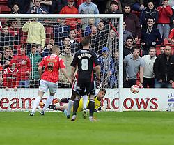 Bristol City's Simon Moore saves the penalty of Walsall's Sam Mantom  - Photo mandatory by-line: Joe Meredith/JMP - Mobile: 07966 386802 12/04/2014 - SPORT - FOOTBALL - Walsall - Banks' Stadium - Walsall v Bristol City - Sky Bet League One