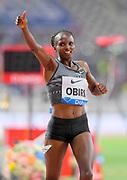 Hellen Obiri (KEN) celebrates after winning the women's 3,000m, 8:25.60 to 8:26.20, during the IAAF Doha Diamond League 2019 at Khalifa International Stadium, Friday, May 3, 2019, in Doha, Qatar (Jiro Mochizuki/Image of Sport)