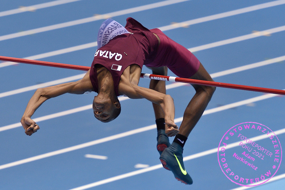 Mutaz Essa Barshim of Qatar competes in men's high jump final during the IAAF Athletics World Indoor Championships 2014 at Ergo Arena Hall in Sopot, Poland.<br /> <br /> Poland, Sopot, March 9, 2014.<br /> <br /> Picture also available in RAW (NEF) or TIFF format on special request.<br /> <br /> For editorial use only. Any commercial or promotional use requires permission.<br /> <br /> Mandatory credit:<br /> Photo by &copy; Adam Nurkiewicz / Mediasport