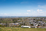 A landscape view of Wadebridge, North Cornwall, United Kingdom.  The town is aiming to become the first in the UK to be powered by renewable energy sources, and many buildings have been fitted with solar power roof panels,