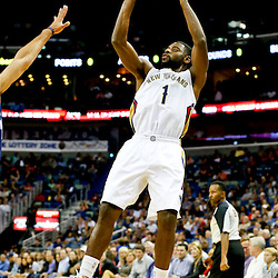 Nov 2, 2013; New Orleans, LA, USA; New Orleans Pelicans point guard Tyreke Evans (1) shoots against the Charlotte Bobcats during the first quarter of a game at New Orleans Arena. Mandatory Credit: Derick E. Hingle-USA TODAY Sports