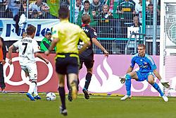 15.10.2011,  BorussiaPark, Mönchengladbach, GER, 1.FBL, Borussia Mönchengladbach vs Bayer 04 Leverkusen, im Bild.Patrick Herrmann (Mönchengladbach #7) (L) trifft zum 2:1 gegen Bernd Leno (Torwart Leverkusen/Leihe aus Stuttgart) (R)..// during the 1.FBL, Borussia Mönchengladbach vs Bayer 04 Leverkusen on 2011/10/13, BorussiaPark, Mönchengladbach, Germany. EXPA Pictures © 2011, PhotoCredit: EXPA/ nph/  Mueller *** Local Caption ***       ****** out of GER / CRO  / BEL ******