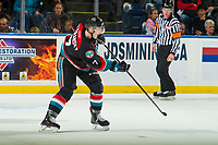KELOWNA, CANADA - OCTOBER 3:  Libor Zabransky #7 of the Kelowna Rockets passes the puck against the Vancouver Giants on October 3, 2018 at Prospera Place in Kelowna, British Columbia, Canada.  (Photo by Marissa Baecker/Shoot the Breeze)  *** Local Caption ***