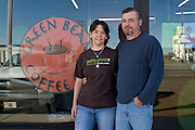 "Greensburg, Kansas, USA..Tim and Kari Kayle, owners of Grenn Bean Coffe Co...""Greensburg: Better, Stronger, Greener!"".On May 4, 2007, an EF5 tornado cut a 1.7-mile path of destruction through Greensburg, Kansas. Winds reaching speeds of 205 miles per hour uprooted trees, demolished homes and leveled the town. Eleven people died and 95% of the buildings were destroyed beyond repair. Residents have since worked furiously to rebuild it in a way that is both economically and environmentally sustainable and to meet the highest environmental standards. Greensburg, whose population has dropped from about 1400 to 800 following the storm and is now growing again, is currently the greenest town in America and the first in the United States to pass a resolution to certify that all city-owned buildings earn LEED Platinum accreditation, the highest level of the LEED rating system...Foto © Stefan Falke"
