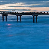 Civil twilight at the St. John County Fishing Pier with surf, Anastasia Island, St. Augustine, Florida