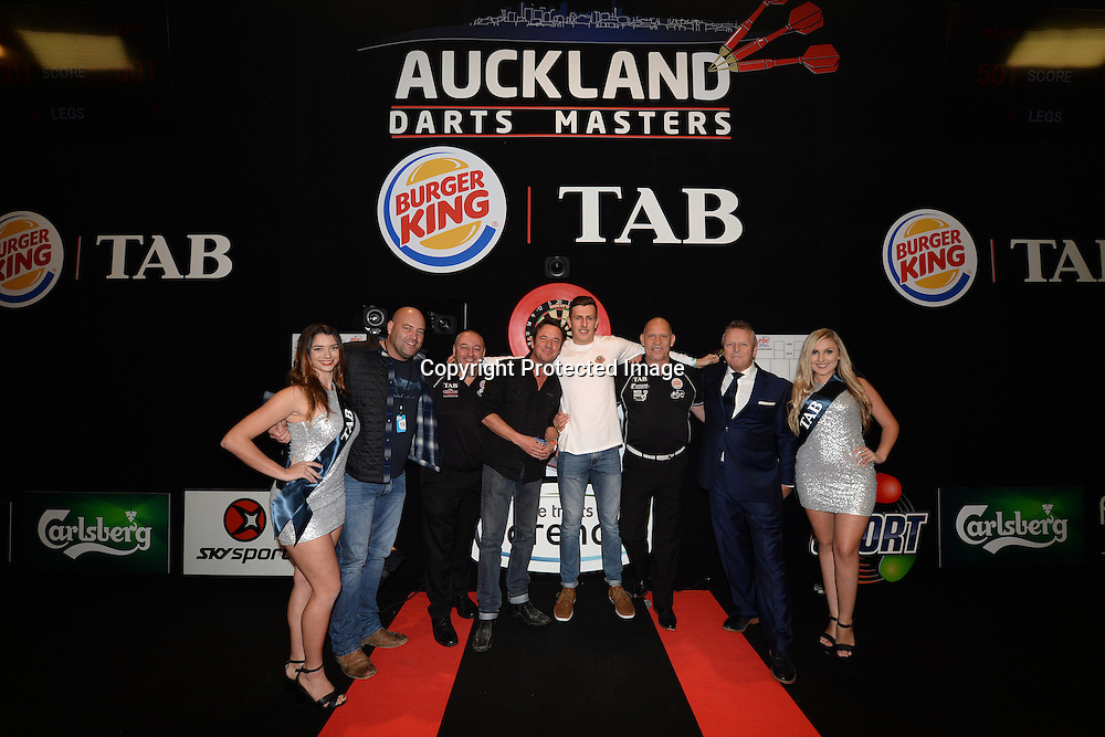 Daniel James and Jason Hoyte pose after their fun challenge during the Day 1 of the Auckland Darts Masters at Trusts Arena, Auckland, New Zealand. 17 June 2016. Copyright Image: Raghavan Venugopal / www.photosport.nz