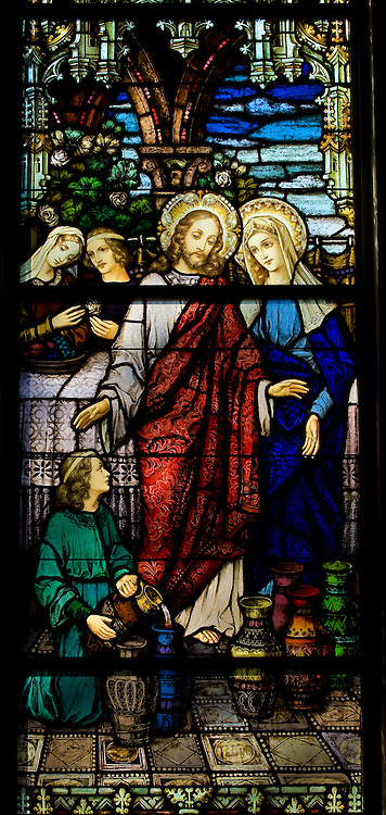 Stained glass image depicting Jesus and the Blessed Mother at the wedding feast at Cana, inside Sacred Heart Church, Sherwood, Wis. (Sam Lucero photo)