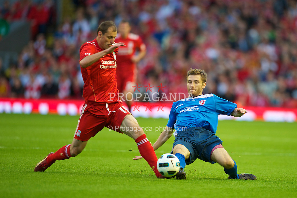 LIVERPOOL, ENGLAND - Thursday, August 5, 2010: Liverpool's Milan Jovanovic in action against FK Rabotnicki during the UEFA Europa League 3rd Qualifying Round 2nd Leg match at Anfield. (Pic by: David Rawcliffe/Propaganda)