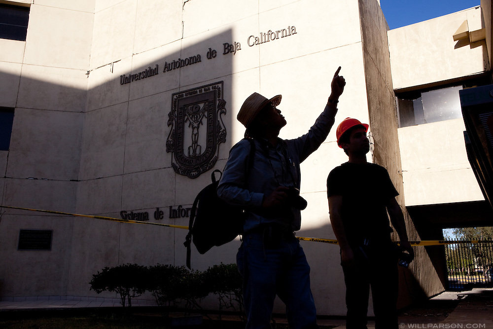 Dr. Benson Shing points out features of damage on the campus of the Universidad Autónoma de Baja California. A group of researchers led by Dr. Shing, Vice Chair of the Department of Structural Engineering at the University of California, San Diego, inspected the earthquake damage in Mexicali, Mexico, April 7, 2010. A 7.2 magnitude earthquake in Baja California on Easter Sunday was felt as far away as Los Angeles.