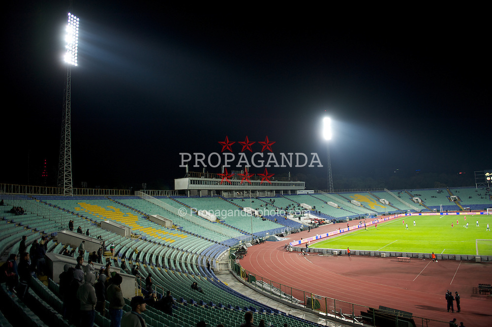 SOFIA, BULGARIA - Tuesday, October 11, 2011: Only a handful of Bulgaria supporters turn out to watch their national side as the fans' boycot the UEFA Euro 2012 Qualifying Group G match against Wales at the Vasil Levski National Stadium. Bulgarian fans boycotted the match in protest at how the Football Association was being run. (Pic by David Rawcliffe/Propaganda)