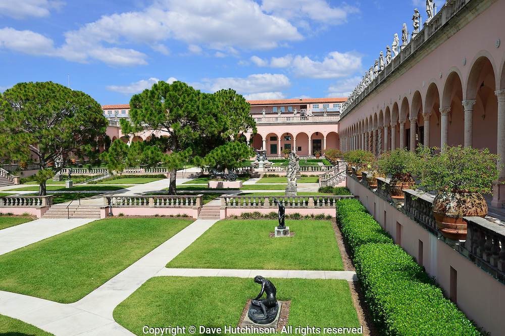 Courtyard at The Ringling Museum in Sarasota, Florida, named one of Florida's top attractions by USA Today.