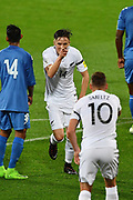 All Whites' Ryan Thomas and All Whites' Shane Smeltz celebrate after Thomas scored during the New Zealand All Whites v Fiji, FIFA Football World Cup Qualification, OFC Final Group Stage. Westpac Stadium, Wellington, New Zealand. 28 March 2017. Copyright Image: Mark Tantrum / www.photosport.nz