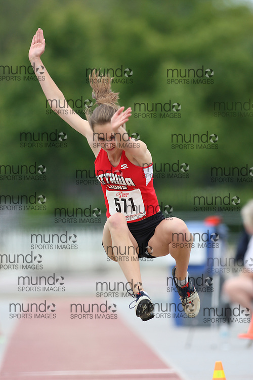 (London, Ontario---13/06/09)   Krista Dillon of Ottawa Lions T.F.C. competes in the  junior women's long jump at the 2009 Athletics Ontario Junior Track and Field Championships. The meet was held in London, Ontario from June 13-14, 2009. Copyright photograph Sean Burges / Mundo Sport Images, 2009. www.mundosportimages.com / www.msievents.