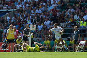 Twickenham, United Kingdom. 3rd June 2018, HSBC London Sevens Series. Game 32 Cup Quarter Final. Australia vs England.<br /> <br /> England's Dam NORTON breaking on the wing during the Rugby 7's   match played at the  RFU Stadium, Twickenham, England, <br /> <br /> <br /> <br /> © Peter SPURRIER/Alamy Live News