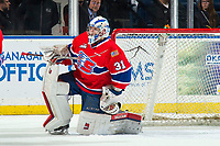 KELOWNA, CANADA - MARCH 13: Bailey Brkin #31 of the Spokane Chiefs defends the net against the Kelowna Rockets on March 13, 2019 at Prospera Place in Kelowna, British Columbia, Canada.  (Photo by Marissa Baecker/Shoot the Breeze)