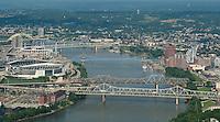 Cincinnati Ohio Skyline Aerial with Bridges and Northern Kentucky