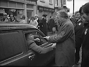 Image of Fianna Fáil leader Charles Haughey touring West Cork during his 1982 election campaign...04/02/1982.02/04/82.4th February 1982..Calling a Halt:..A motorist stops to shake hands with Charles Haughey during a campaign walkabout...