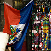 MIAMI, FLORIDA - FEBRUARY 8, 2016<br /> A Haitian flag displayed outside a small market store in Miami's Little Haiti which is a neighborhood formerly known as Lemon City.<br /> (Photo by Angel Valentin)
