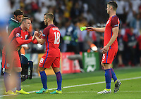 2016.06.20 Saint-Etienne<br /> Pilka nozna Euro 2016<br /> mecz grupy C Slowacja - Anglia<br /> N/z Wayne Rooney Jack Wilshere Gary Cahill<br /> Foto Lukasz Laskowski / PressFocus<br /> <br /> 2016.06.20 Saint-Etienne<br /> Football UEFA Euro 2016 group C game between Slovaki and England<br /> Wayne Rooney Jack Wilshere Gary Cahill<br /> Credit: Lukasz Laskowski / PressFocus