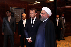 France's President Emmanuel Macron (L) shakes hands with his Iranian counterpart Hassan Rouhani during their meeting at the Millennium Hotel near the United Nations on September 18, 2017, in New York City, NY, USA. Photo by Parspix/ABACAPRESS.COM