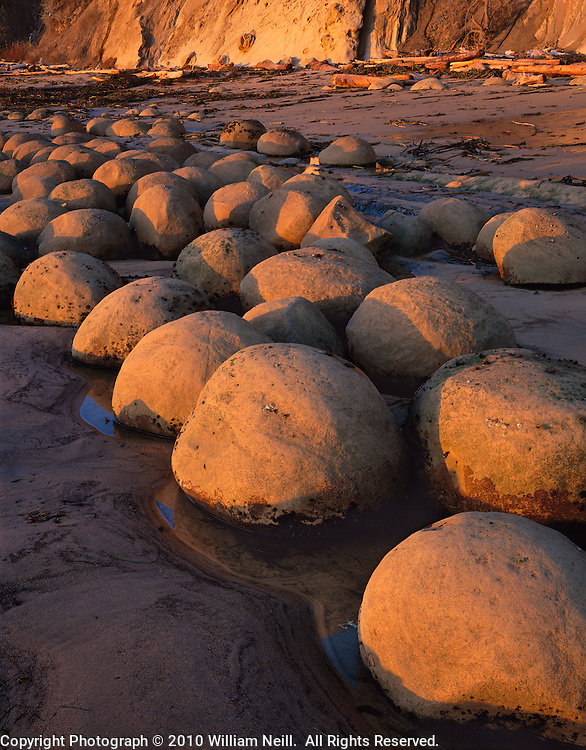 Sandstone concretion formations, Bowling Ball Beach, Mendocino State Park, California