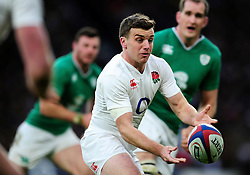 George Ford of England passes the ball - Mandatory byline: Patrick Khachfe/JMP - 07966 386802 - 27/02/2016 - RUGBY UNION - Twickenham Stadium - London, England - England v Ireland - RBS Six Nations.