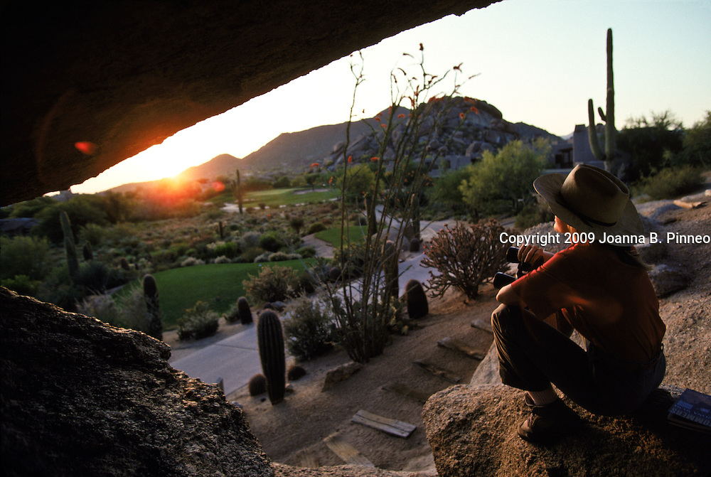 Boulders Resort-golf course located outside of Phoenix in the Sonoran Desert.  This is important because the whole concept and design is to fit in with the environment and leave the natural terrain and wildlife virtually untouched. The Suguaro cactus is saved and the architecture creates rapport between the buildings and the rocks.