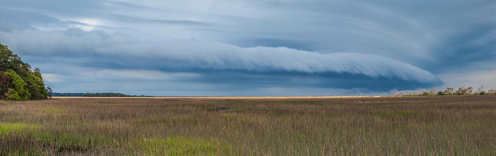 Panorama of Thunderstorm over marsh