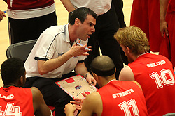 Bristol Flyers head coach, Andreas Kapoulas instructs his team - Photo mandatory by-line: Robbie Stephenson/JMP - Mobile: 07966 386802 - 18/04/2015 - SPORT - Basketball - Bristol - SGS Wise Campus - Bristol Flyers v Leeds Force - British Basketball League