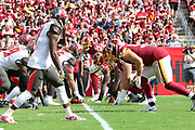 Nov 11, 2018; Tampa, FL USA: A general view of the line of scrimmage at Raymond James Stadium between the Tampa Bay Buccaneers and the Washington Redskins. The Redskins beat the Buccaneers 16-3. (Steve Jacobson/Image of Sport)
