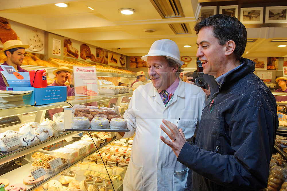 © Licensed to London News Pictures. 09/11/2013 London, UK. Labour Party leader Ed Miliband visits a bakery store in Crouch End, North London to support Labour prospective parliamentary candidate for Hornsey and Wood Green, Catherine West. Photo credit : Simon Jacobs/LNP