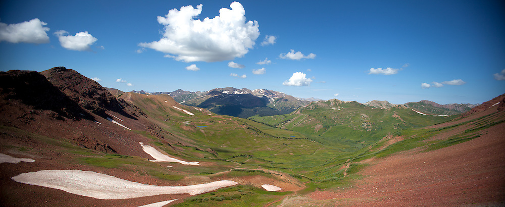 A panoramic shot of Purity Basin looking down from West Maroon Pass. Frigid Pass is right around the &quot;corner&quot; on the right of the shot.<br /> <br /> Please inquire about a custom canvas print of this panoramic picture using the Contact form.